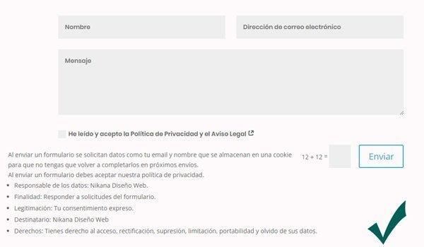 Formularios de contacto Web